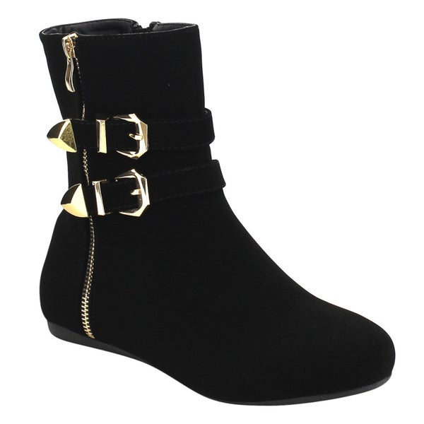 Shop Forever Womens Black Faux Suede Buckle Strap Flat Heel Ankle Boots - Free -3837