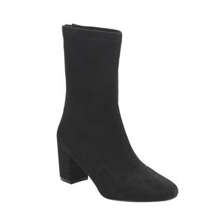 Jacobies Camy Women's CAMY-40 Black Faux-suede Back-zipper Block Mid-heel Mid-calf Stretchy Boots