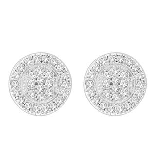 Sterling Silver 1/6ct TDW Round Diamond Cluster Earrings (H-I, I1-I2)