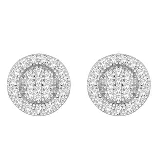 Sterling Silver 1/8ct TDW Round Diamond Cluster Earrings (H-I, I1-I2)