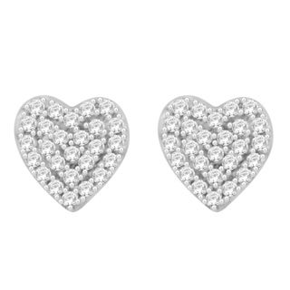Sterling Silver 1/8ct TDW Round Diamond Heart Cluster Earrings (H-I, I1-I2)