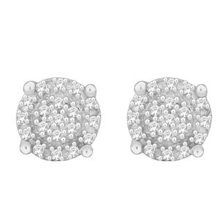 Sterling Silver 1/10ct TDW Round Diamond Cluster Earrings (H-I, I1-I2)