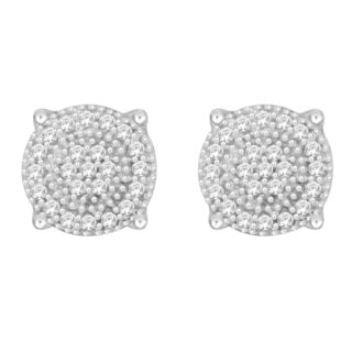 Sterling Silver 1/10ct TDW Round Diamond Cluster Earrings