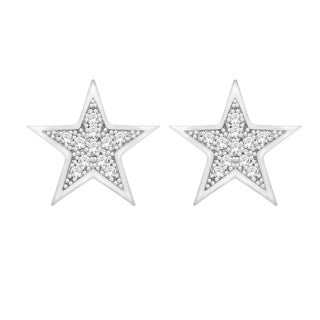 Sterling Silver Round Diamond Accent Star Cluster Earrings (H-I, I1-I2)
