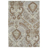Super Soft Brown Damask Microfiber Rug (2'0 x 3'0) - 2' x 3'