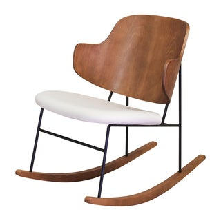 Design Tree Home Peguin Cream Metal/Wood Rocking Chair With Walnut Finish