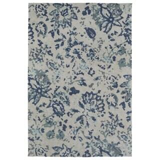 Super Soft Blue Floral Microfiber Rug (9'0 x 12'0)