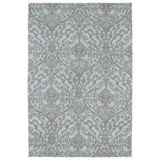 Super Soft Light Blue Damask Microfiber Rug (9'0 x 12'0)