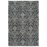 Super Soft Charcoal Damask Microfiber Rug (2'0 x 3'0) - 2' x 3'