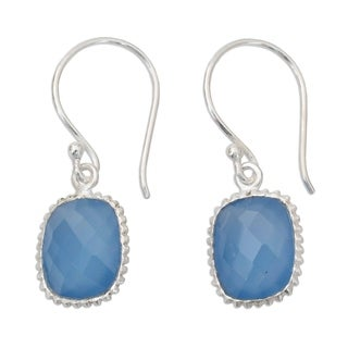 Handmade Sterling Silver 'Delhi Sky' Chalcedony Earrings (India)
