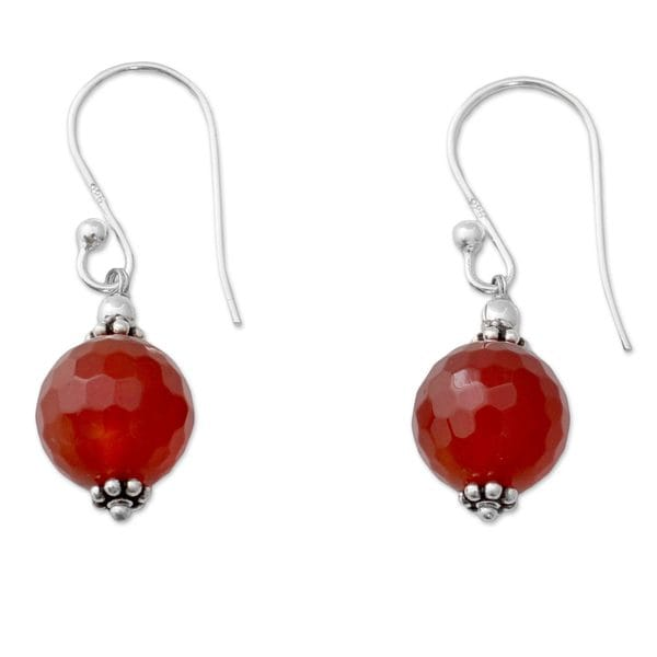 Handmade Sterling Silver 'Glorious Sunset' Carnelian Earrings (India)