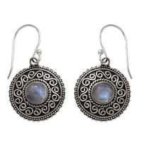 Handmade Sterling Silver 'Moonlight Mandala' Rainbow Moonstone Earrings (India)