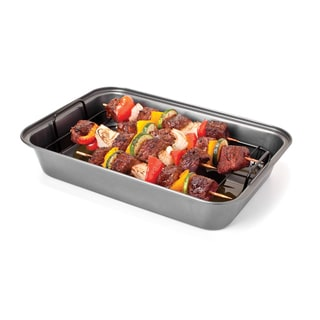 Chef Tony 'Grease-Away' Carbon Steel Shish Kabob Pan (Pack of 2)