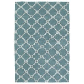 Super Soft Turquoise Trellis Microfiber Rug (8'0 x 10'0)