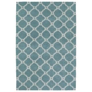 Super Soft Turquoise Trellis Microfiber Rug (9'0 x 12'0)