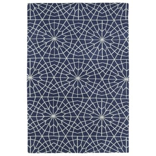 Super Soft Denim Blue Mosaic Microfiber Rug (9'0 x 12'0)