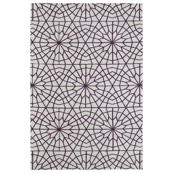 Super Soft Ivory and Purple Mosaic Microfiber Rug - 2' x 3'