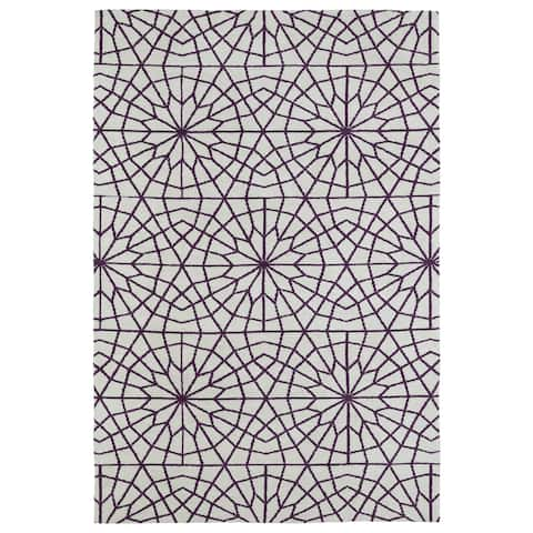 Super Soft Ivory and Purple Mosaic Microfiber Rug - 8' x 10'