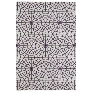 Super Soft Ivory and Purple Mosaic Microfiber Rug (9'0 x 12'0)