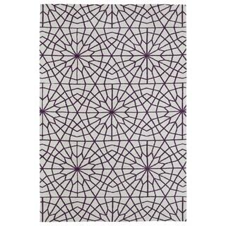 Super Soft Ivory and Purple Mosaic Microfiber Rug (9'0 x 12'0) - 9' x 12'
