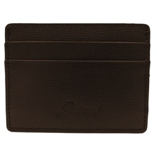 Brioni Brown Grained Leather Cardcase