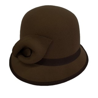 Swan Brown 'Cashmere'-feeling Felt Cloche Hat
