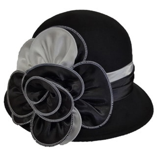 Swan 'Cashmere' Black/White Feeling Felt Two-tone Cloche Hat