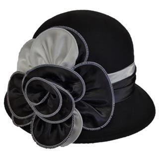 Swan 'Cashmere' Black/White Feeling Felt Two-tone Cloche Hat|https://ak1.ostkcdn.com/images/products/12913260/P19668681.jpg?impolicy=medium