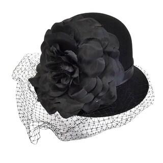 Swan Hat Cashmere Black Felt Cloche Hat