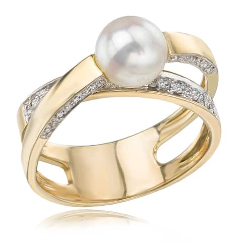 Avanti 14K Yellow Gold Cultured Pearl and Diamond Criss Cross Shank Ring Size - 7