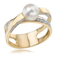 Avanti 14K Yellow Gold Cultured Pearl and Diamond Criss Cross Shank Ring