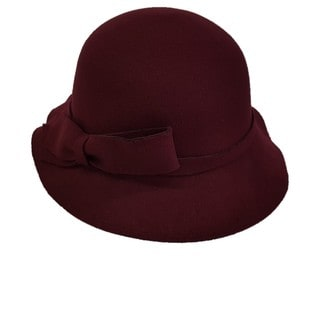 Swan Waves Burgundy Cashmere Feeling Felt Cloche Hat