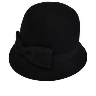 Swan Hat Feeling Cashmere Black Felt Cloche Hat