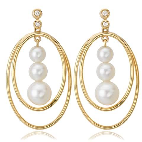 Avanti 14K Yellow Gold Triple Pearl and Diamond Accent Oval Dangle Earrings