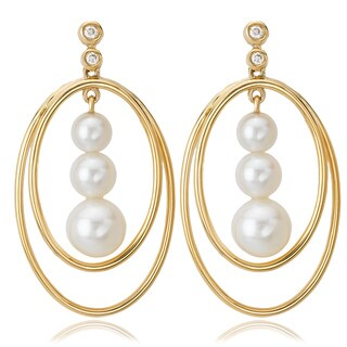 Avanti 14K Yellow Gold Triple Pearl and Diamond Accent Oval Dangle Earrings