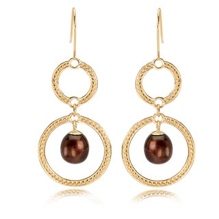 Avanti 14K Yellow Gold Chocolate Pearl Dangle Earrings
