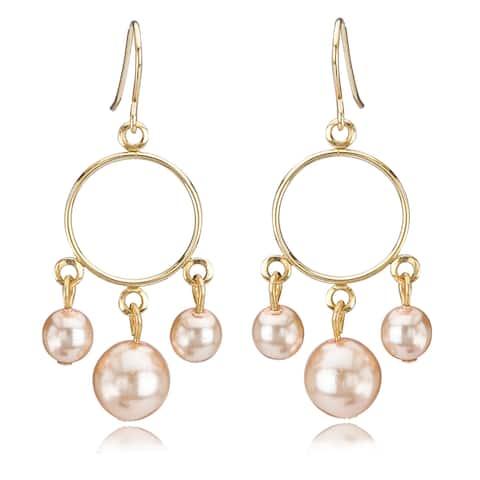 Avanti 14K Yellow Gold Pink Pearl Dangle Earrings