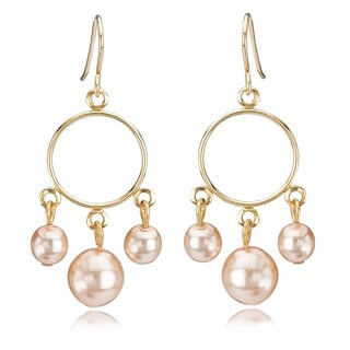 Avanti 14K Yellow Gold Pink Pearl Dangle Earrings