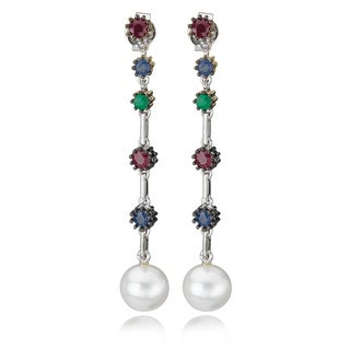 Avanti 14K White Gold Multi-Color Gemstones and Pearl Drop Earrings
