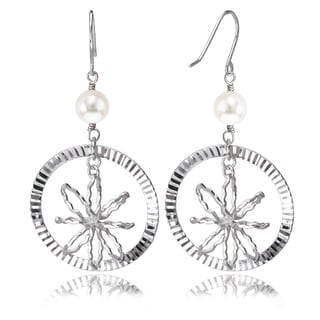 Avanti 14K White Gold Freshwater Pearl Circle Earrings
