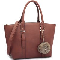 Dasein Saffiano Leather Buckle Strap Handle Satchel Handbag