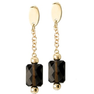 Avanti 14K Yellow Gold Smoky Quartz Dangle Earrings