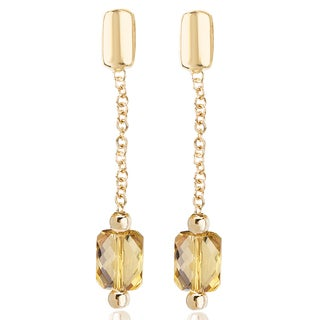 Avanti 14K Yellow Gold 3 1/2 Ct TGW Cubed Citrine Dangle Earrings