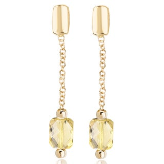 Avanti 14K Yellow Gold 3 1/2 Ct TGW Lemon Quartz Drop Earrings