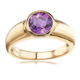 Avanti 14K Yellow Gold Round Faceted Amethyst Bezel Set Ring