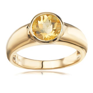 Avanti 14K Yellow Gold Round Faceted Citrine Ring