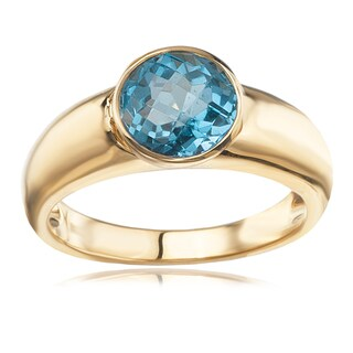 Avanti 14K Yellow Gold Round Faceted Blue Topaz Bezel Set Ring
