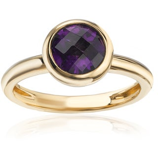 Avanti 14k Yellow Gold Domed Bezel-set Round Amethyst Stackable Ring