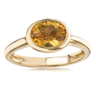 Avanti 14K Yellow Gold Oval Cut Citrine Bezel Set Fashion Ring