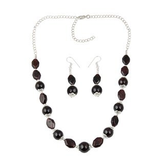 Pearlz Ocean Memorable Garnet Beaded Necklace and Earrings Trendy Jewelry Set for Women
